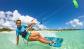 Girl kitesurfing